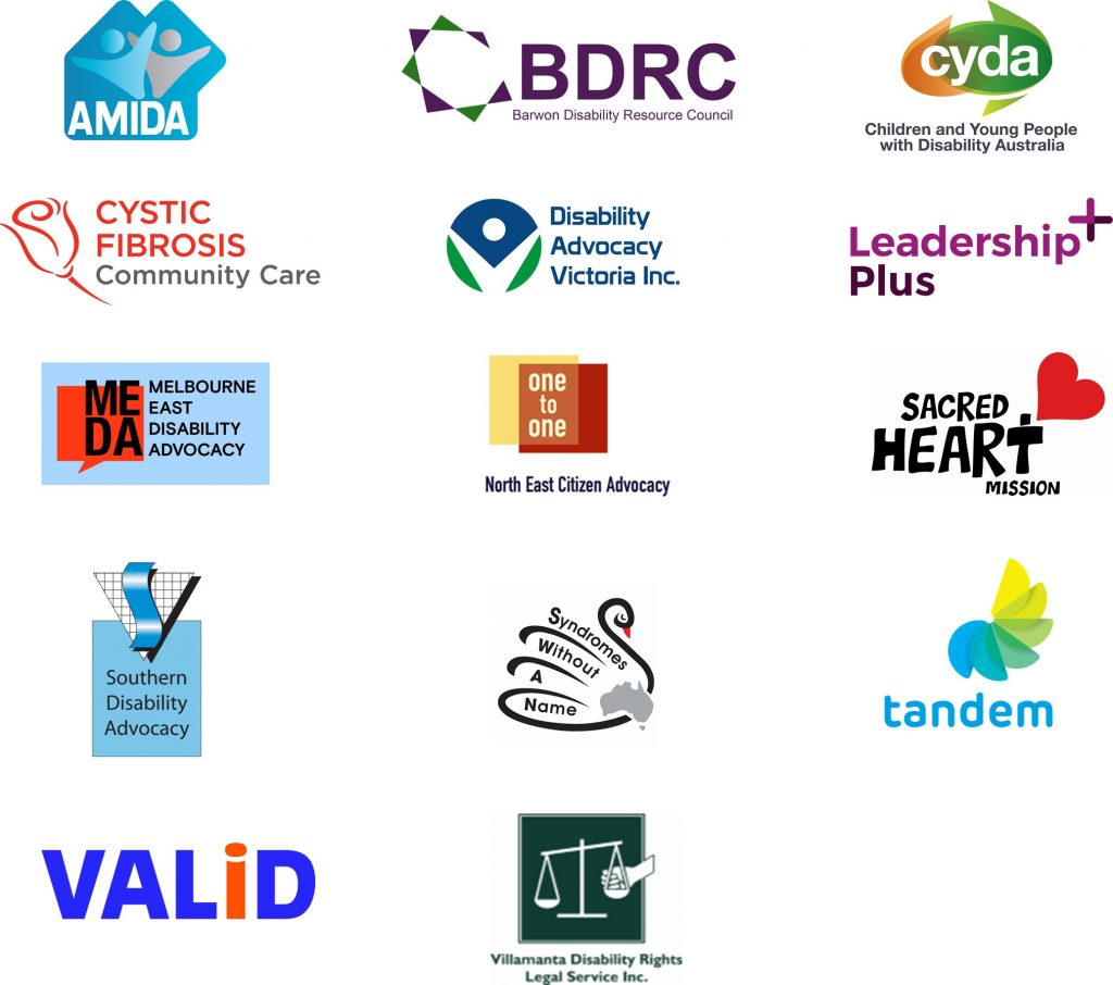 Logos of the VCOSS and Empowered Lives members and allies that endorse this issue   AMIDA  Barwon Disability Resource Council Children and Young People with Disability Australia Cystic Fibrosis Community Care Disability Advocacy Victoria Leadership Plus Melbourne East Disability Advocacy North East Citizen Advocacy Sacred Heart Mission Southern Disability Advocacy Syndromes Without A Name Tandem VALID Villamanta Disability Rights Legal Service